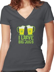 I love BIG JUGS green shamrocks St Patricks day beer jugs Women's Fitted V-Neck T-Shirt