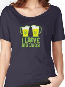 I love BIG JUGS green shamrocks St Patricks day beer jugs Women's Relaxed Fit T-Shirt