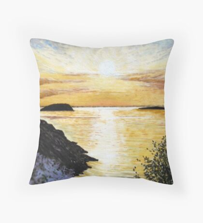 """Bay of Islands"" - Steepholm & Flatholm, as seen from Brean Throw Pillow"
