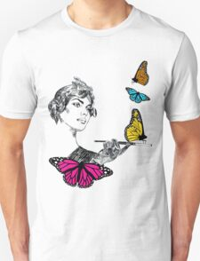 Retro butterfly Girl  T-Shirt