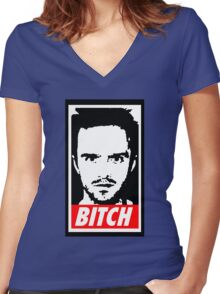 Breaking Bad Jessie Pinkman Obey Bitch Women's Fitted V-Neck T-Shirt