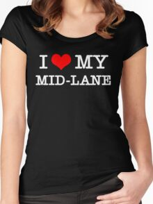 I Love My MID-LANE  [Black] Women's Fitted Scoop T-Shirt