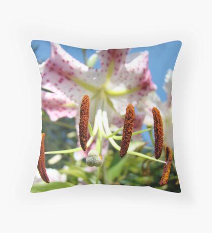 Lily Flower Closeup Floral art prints Pink Lilies Throw Pillow