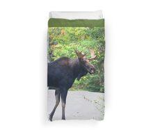 Maine Bull Moose on the road Duvet Cover