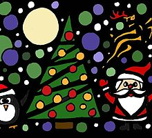 Colorful Santa and Penguin and Tree and Stars Abstract by naturesfancy