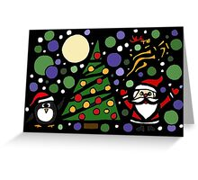 Colorful Santa and Penguin and Tree and Stars Abstract Greeting Card