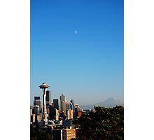 Space Needle's Moon Photographic Print