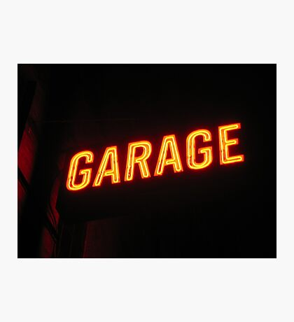 Neon Garage Photographic Print