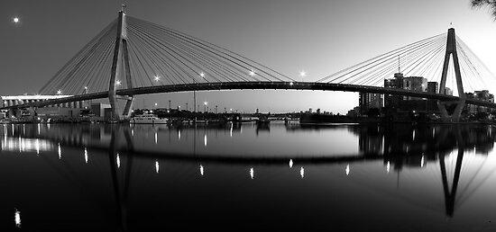 The Full Span ANZAC Bridge -Sydney by Mark  Lucey
