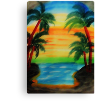 Sunset between 4 palm trees, watercolor Canvas Print