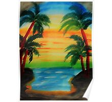 Sunset between 4 palm trees, watercolor Poster