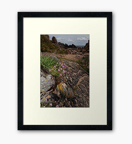 Rocks Sea and Sand Framed Print