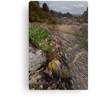 Rocks Sea and Sand Metal Print