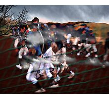 onto the playing field..... into battle Photographic Print