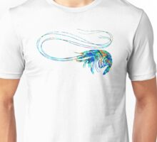 Blue Shrimp Art by Sharon Cummings Unisex T-Shirt