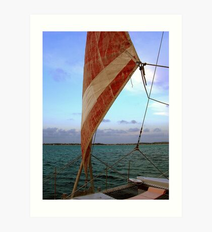 Sunset Sail in Aruba  Art Print