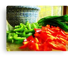 Peppers and Green Onions  Canvas Print