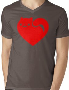 Cat Heart Mens V-Neck T-Shirt
