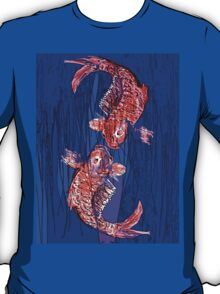 Two fish in the blue, tshirt. T-Shirt