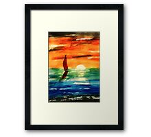 Dusk at Sea, revised, watercolor Framed Print
