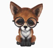 Cute Red Fox Cub Wearing Glasses  Kids Tee