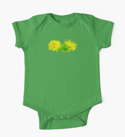 Yellow and Green Mums One Piece - Short Sleeve
