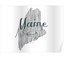 Maine State Typography Poster