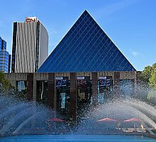 Edmonton City Hall and fountains  by Teresa Zieba