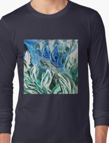 Abstract Floral Sky Reflection Long Sleeve T-Shirt