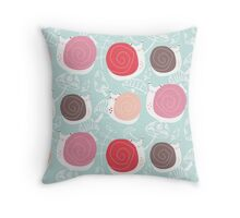 Snails in Bubblegum Throw Pillow