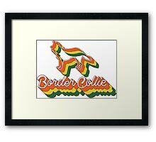 Retro Border Collie Framed Print