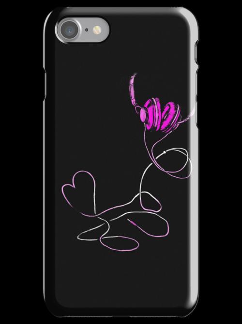 I Love Music Pink iphone case by Midori Furze