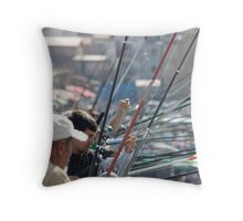 Fishing in town Throw Pillow