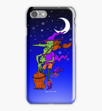 Crazy Witch Dancing with her Broomstick iPhone Case/Skin