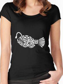 Angler Fish Tribal Design - White Women's Fitted Scoop T-Shirt