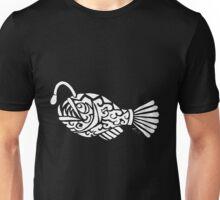 Angler Fish Tribal Design - White Unisex T-Shirt