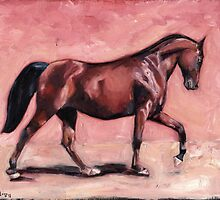 Walking with Purpose II ( horse portrait oil painting) by Eastland Equestrian