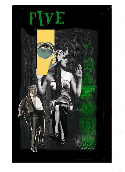 Dada Tarot- Five of Batons by Peter Simpson