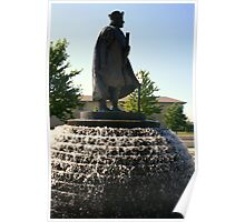 Christopher Columbus Statue And Fountain Poster