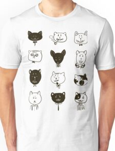 Set of cats heads.  Unisex T-Shirt