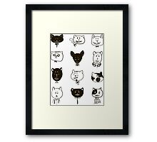 Set of cats heads.  Framed Print