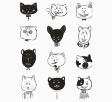 Set of cats heads One Piece - Short Sleeve