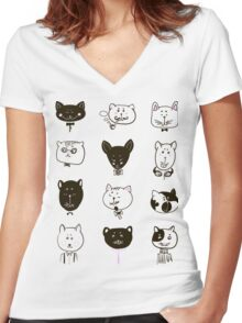 Set of cats heads Women's Fitted V-Neck T-Shirt