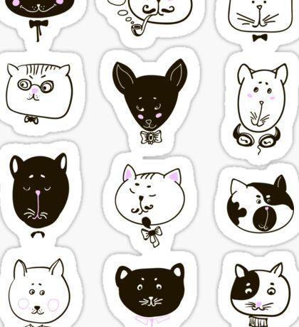 Set of cats heads Sticker