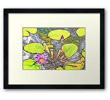 Stained Glass Purple Water Lily Framed Print