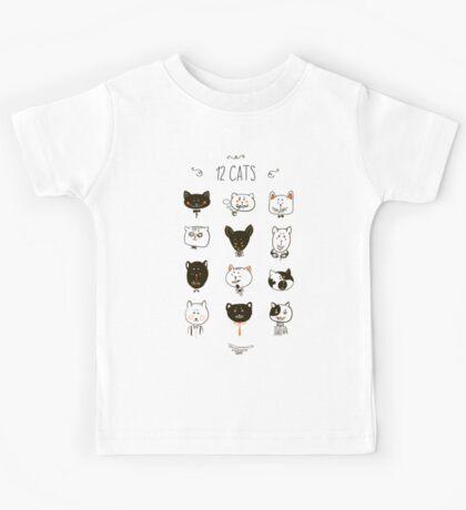 Set of cats heads. Kids Tee