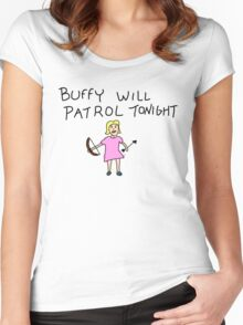 Buffy Will Patrol Tonight Colour Women's Fitted Scoop T-Shirt