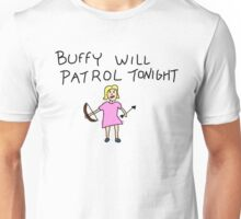 Buffy Will Patrol Tonight Colour Unisex T-Shirt