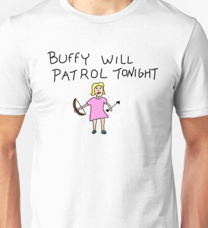 Buffy Will Patrol Tonight Colour Unisex T-Shirt