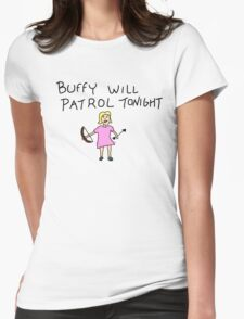 Buffy Will Patrol Tonight Colour Womens Fitted T-Shirt